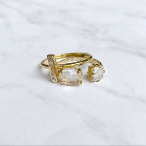 Kate Spade Gold Crystal Stackable Rings